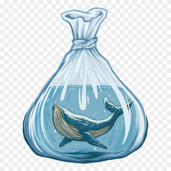 Illustration of Whale in water plastic bag on transparent background PNG