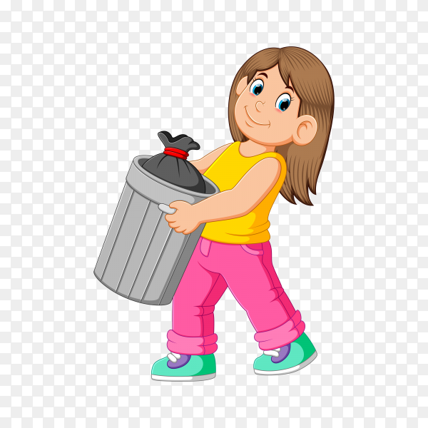 Illustration of Woman to throw away garbage on transparent background PNG