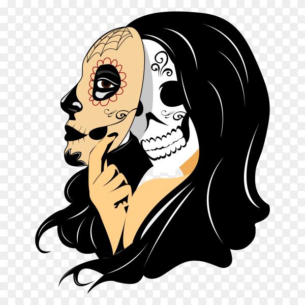 Illustration of skull on transparent background PNG