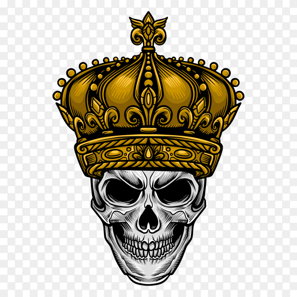 King Skull with crown on transparent background PNG