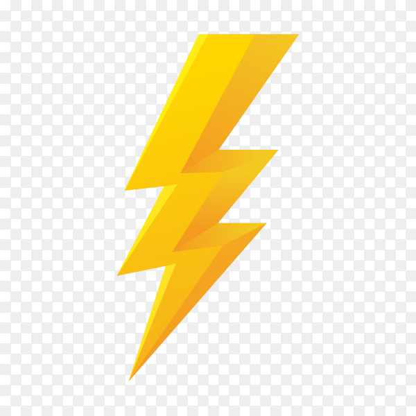 Lightning bolt icon on transparent background PNG