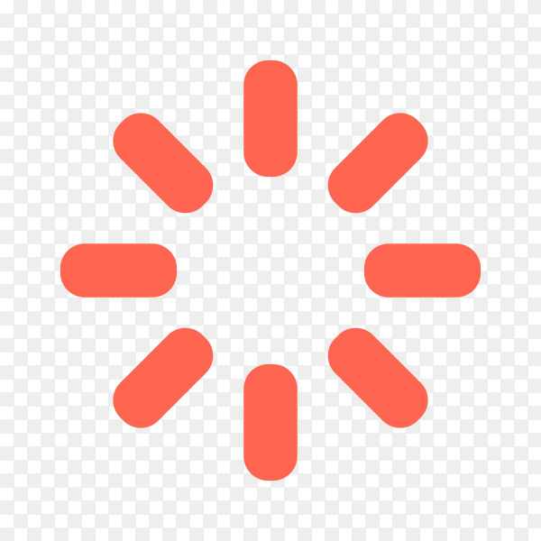 Loading icon in red color on transparent background PNG