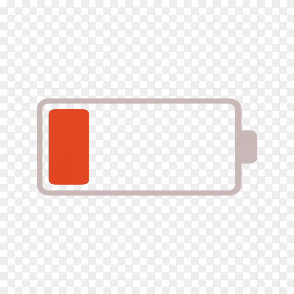 Low battery icon on transparent background PNG