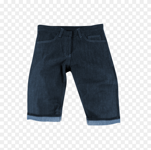 Male jeans shorts isolated on transparent background PNG