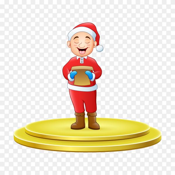 Man singing Christmas carols standing on circle modern stage on transparent background PNG