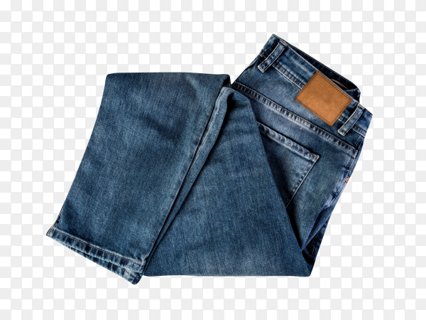 Men's jeans with a leather tag isolated on transparent background PNG