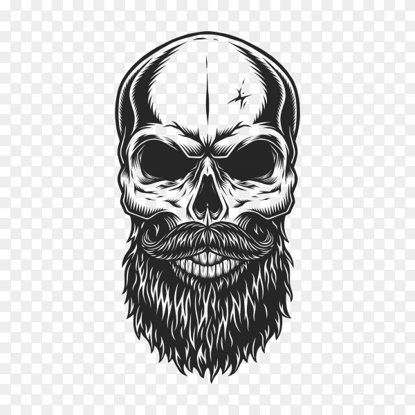 Monochrome illustration of hipster skull with mustache and beard on transparent background PNG
