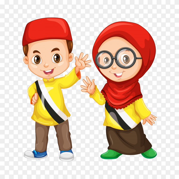 Muslim boy and girl saying hello on transparent background PNG