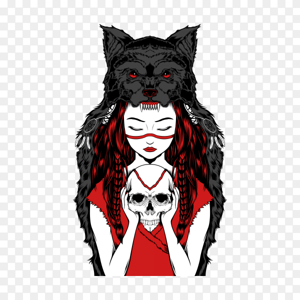 Native American girl with Wolf headdress handling skull on transparent background PNG