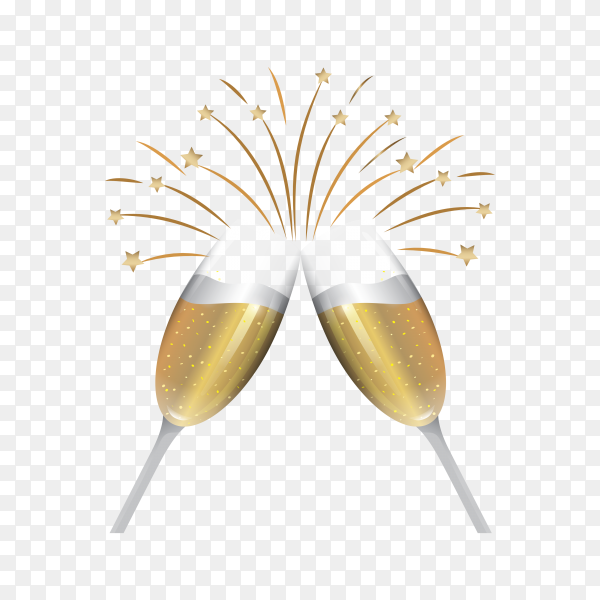 New year celebration with champagne glass on transparent background PNG