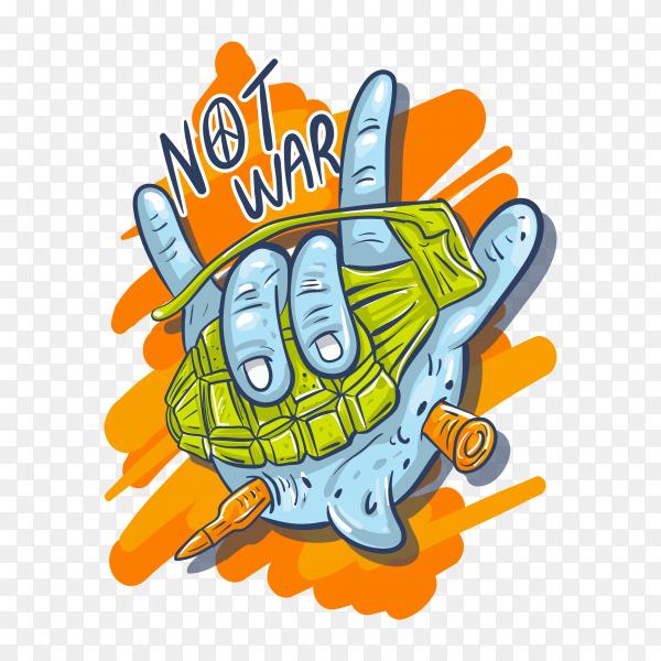 Not war illustration on transparent background PNG