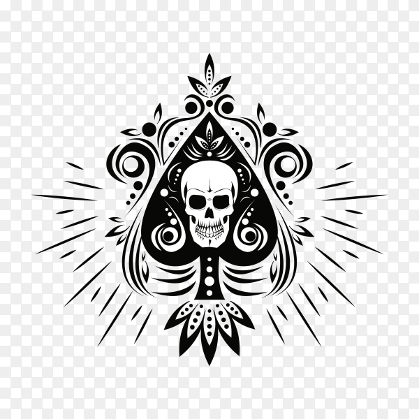 Old school tattoo skull drawing design on transparent background PNG