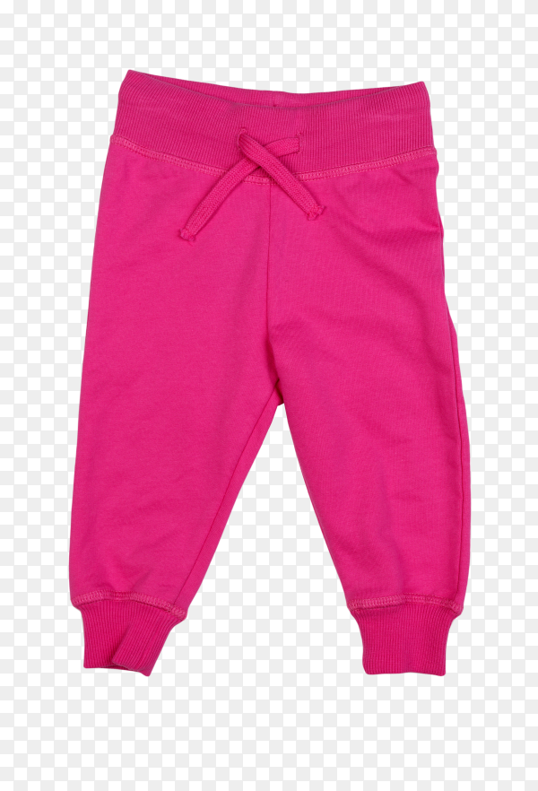 Pink cotton baby pants on transparent background PNG