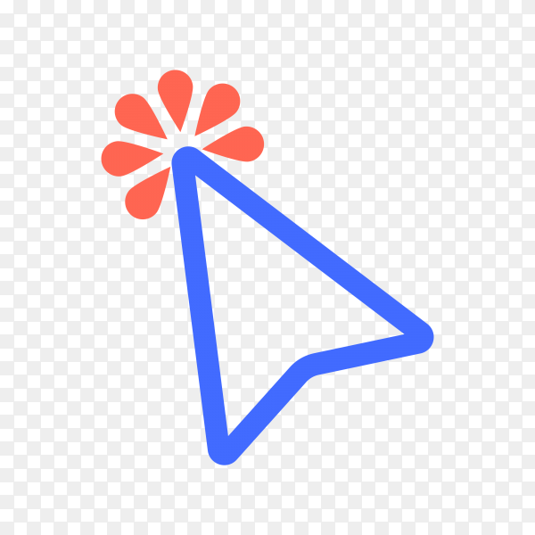 Pointer click icon. Web clicks pointer cursor on transparent background PNG