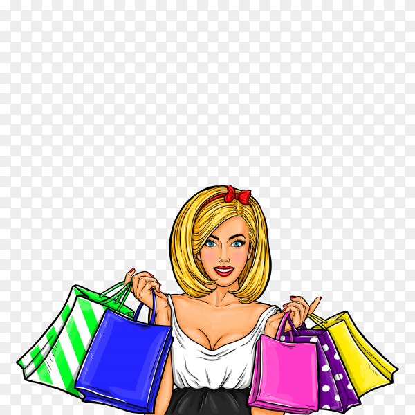 Pop art illustration of a young happy girl holding shopping bags on transparent background PNG