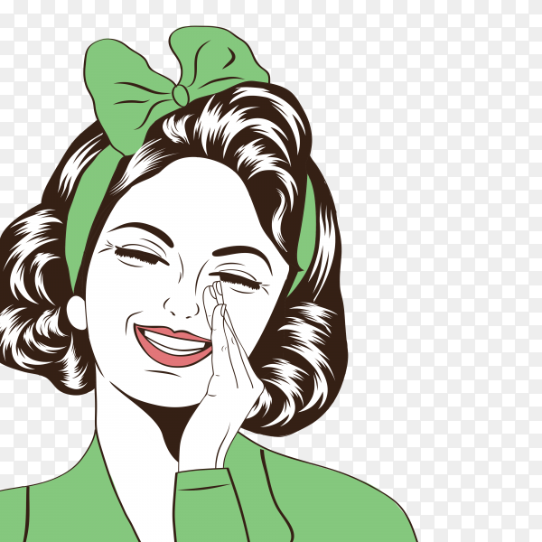Pop art woman smiling on transparent background PNG