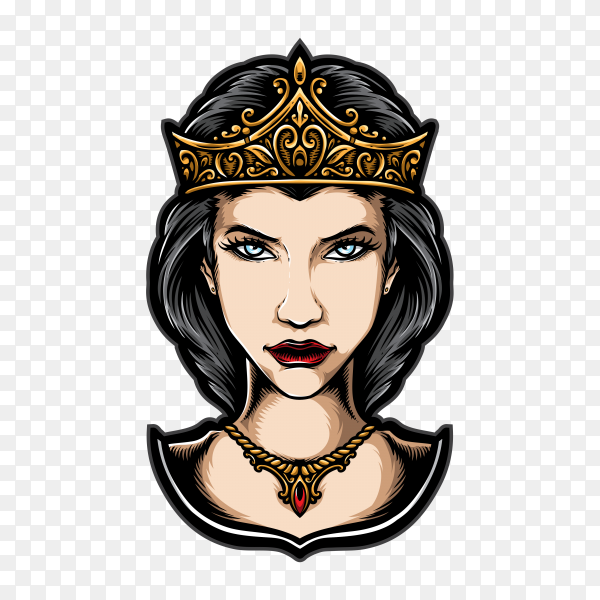 Queen with crown on transparent background PNG