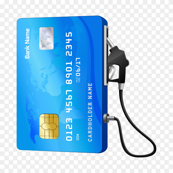 Realistic credit card with fuel hose gas station concept on transparent background PNG
