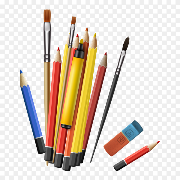 Realistic drawing tools on transparent background PNG