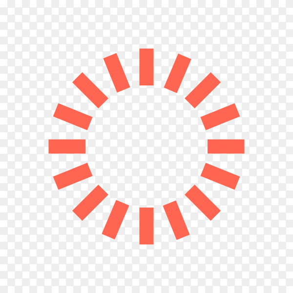 Red Loading icon on transparent background PNG