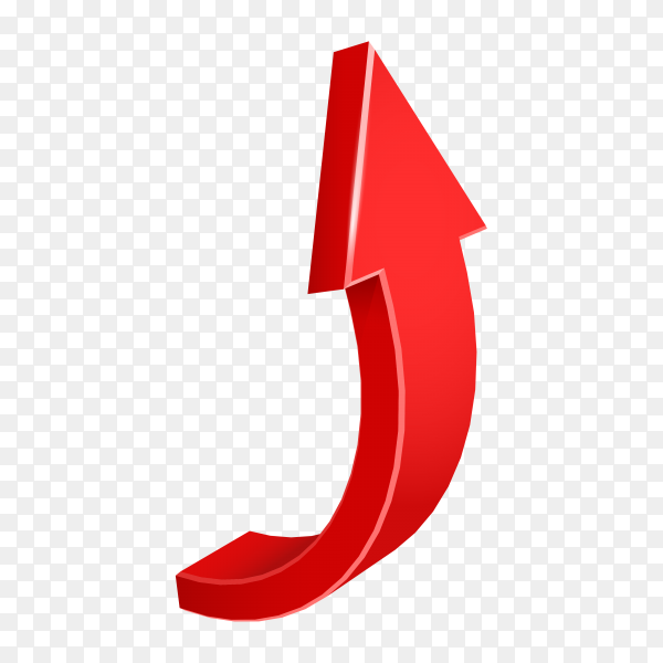Red arrow. 3D shiny arrow icon on transparent PNG