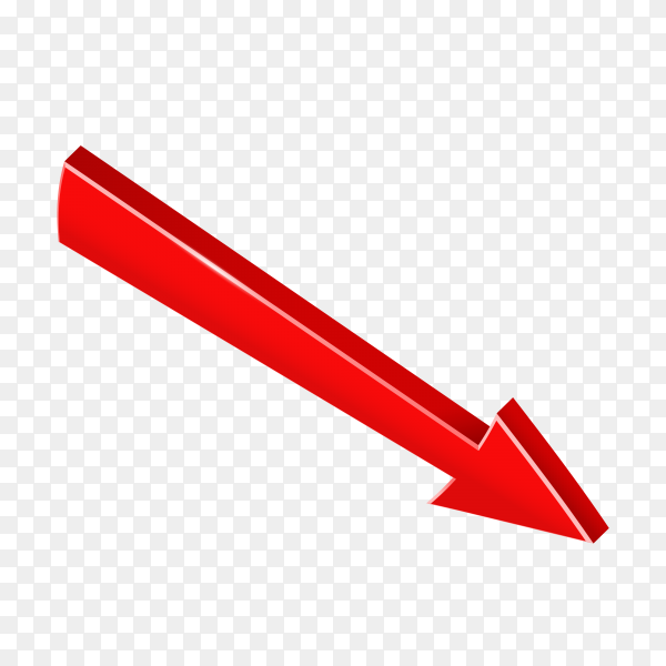 Red arrow sparkling isolated on transparent PNG