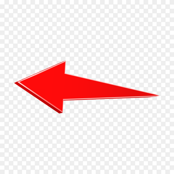 Red arrow. 3D shiny arrow icon on transparent background PNG