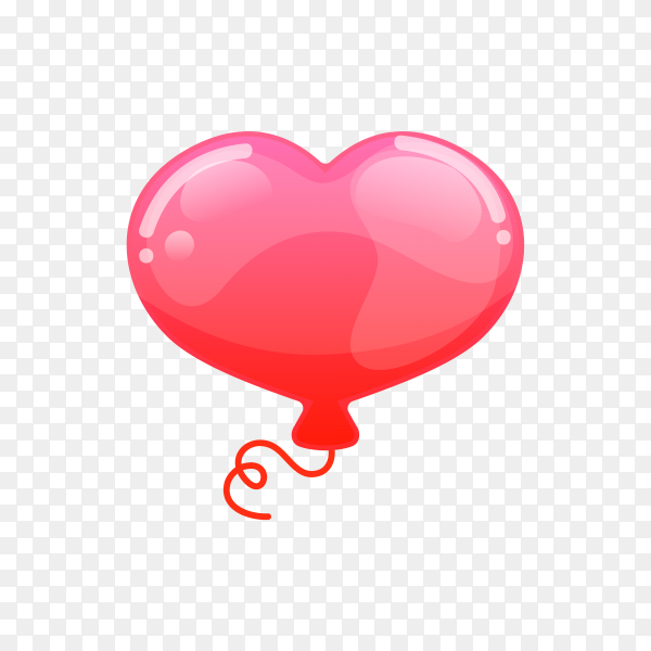 Red balloon with heart shape on transparent background PNG