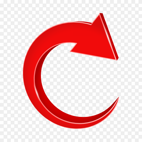 Red direction arrow on transparent background PNG