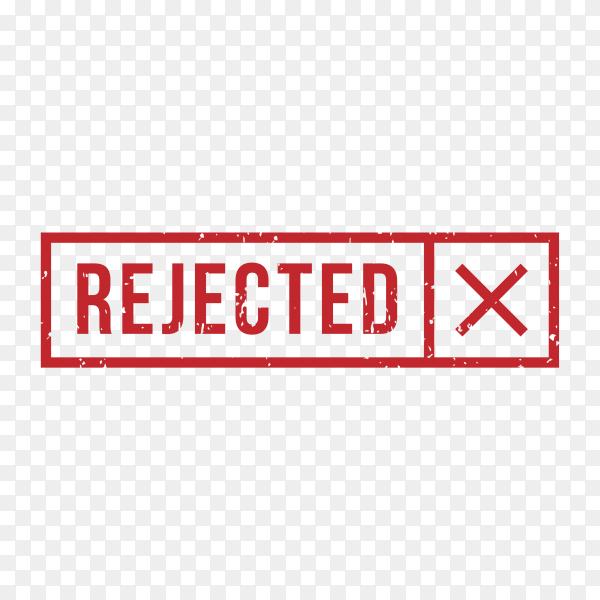 Rejected Stamp Rubber Grunge on transparent background PNG