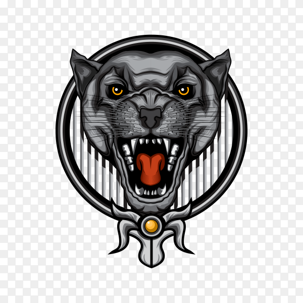 Scary angry black panther head on transparent background PNG