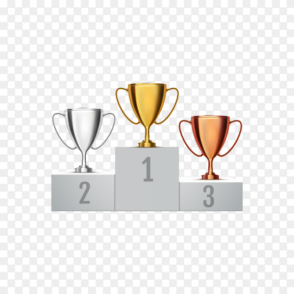 Set of bronze, silver and gold trophies isolated on transparent background PNG