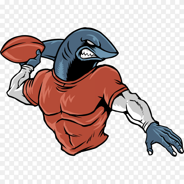 Shark football isolated on transparent background PNG
