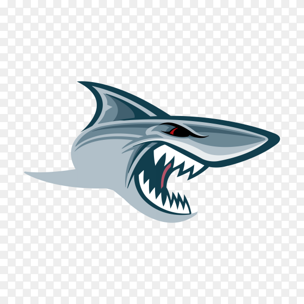 Shark with open mouth on transparent background PNG