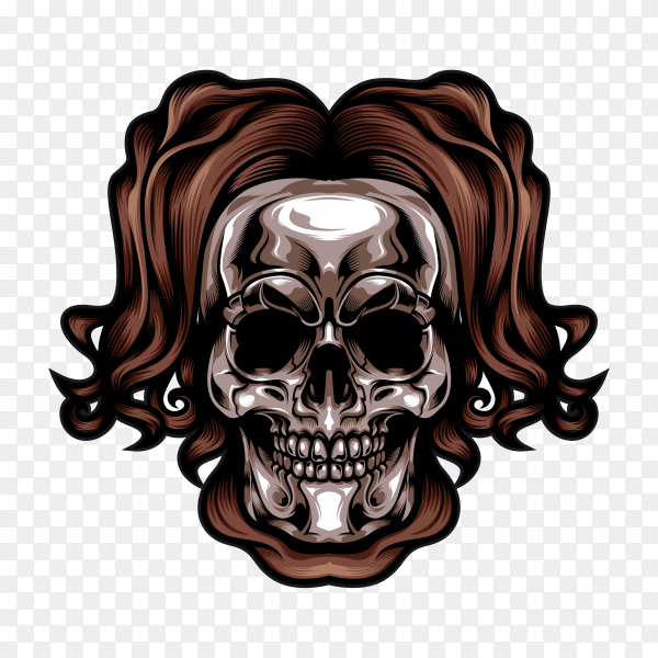 Silver head skull on transparent background PNG