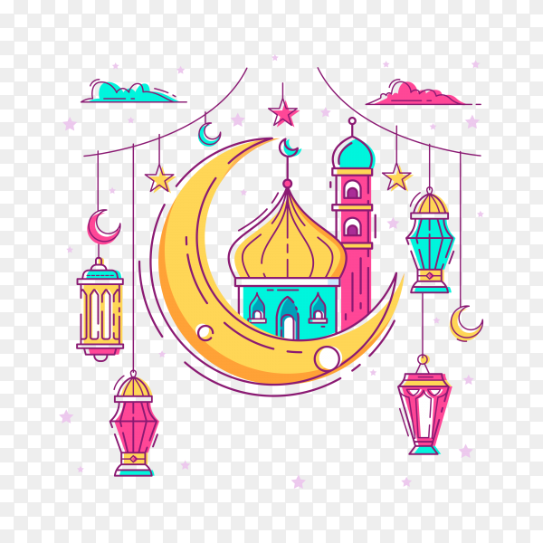 Simple monoline cartoon Ramadan Kareem ornament with bright color on transparent background PNG