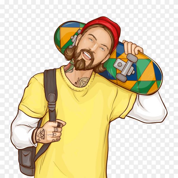 Skater boy, hipster holding skateboard, pop art on transparent background PNG