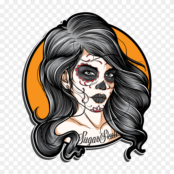 Skull Tattoo isolated on transparent background PNG