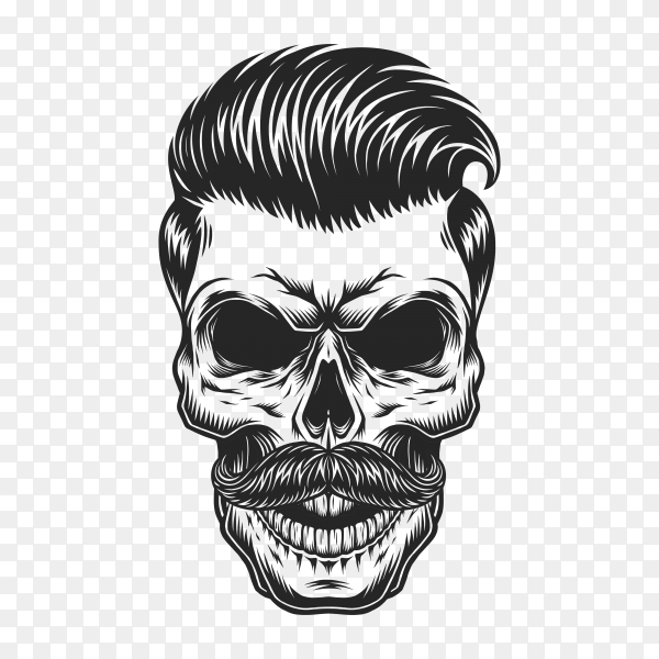 Skull with hairstyle and mustaches on transparent background PNG
