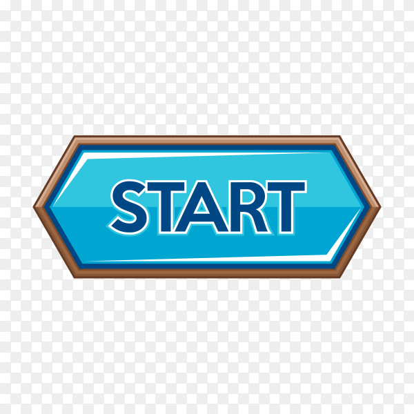 Start button icon isolated on transparent background PNG