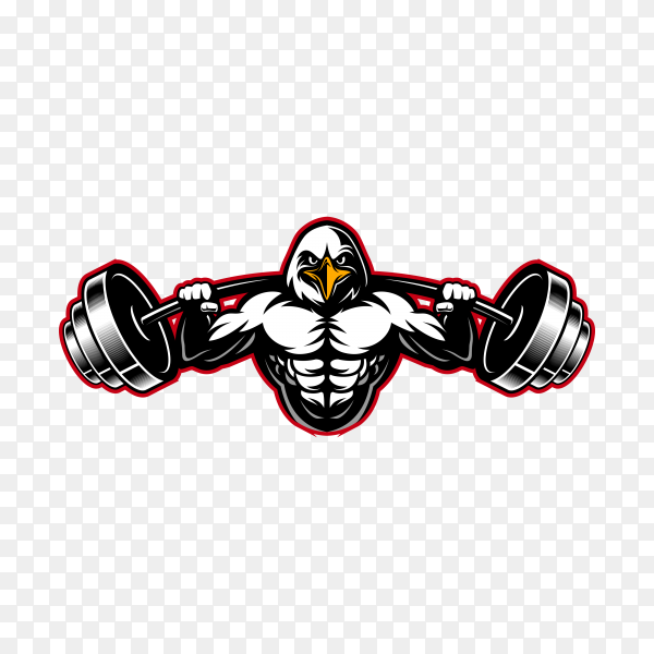 Strong Eagle animal body builder sports mascot weight lifting a barbell on transparent background PNG