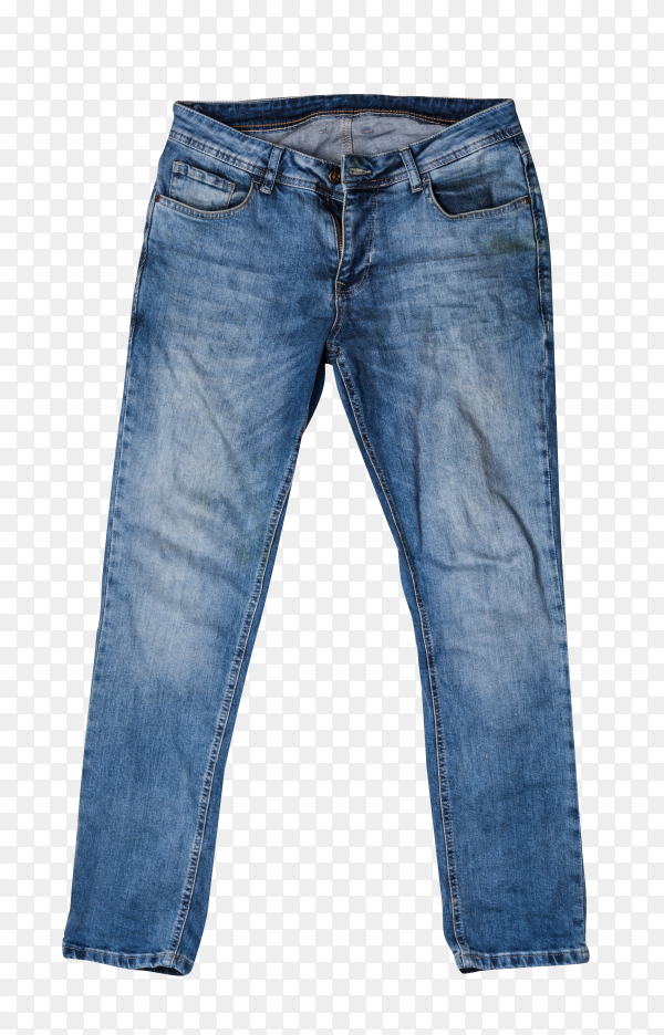 Stylish jeans pants  on transparent background PNG
