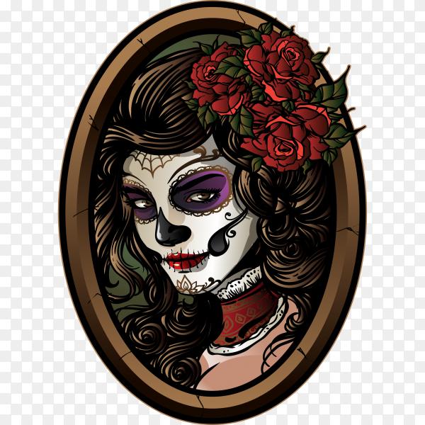 Sugar skull Girl illustration on transparent background PNG