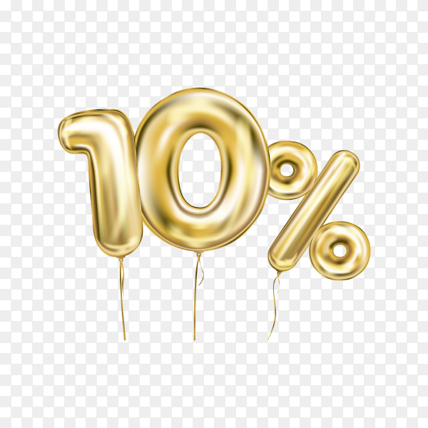 Ten percent discount sign made of golden inflatable balloons isolated on transparent background PNG