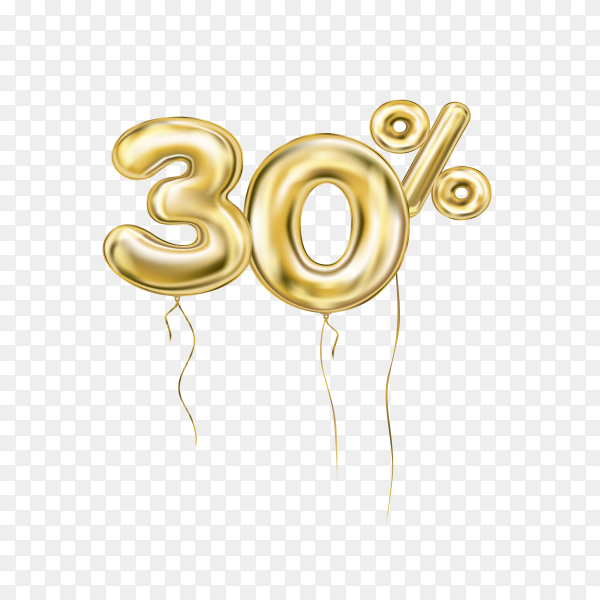 Thirty percent discount sign made of golden inflatable balloons isolated on transparent background PNG
