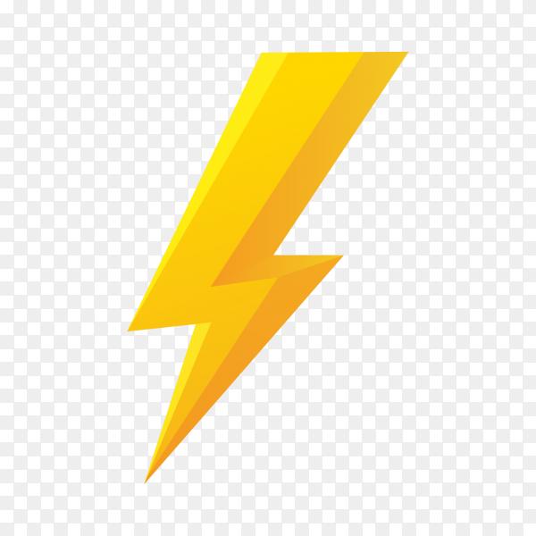 Thunder and bolt lighting flash correction on transparent background PNG