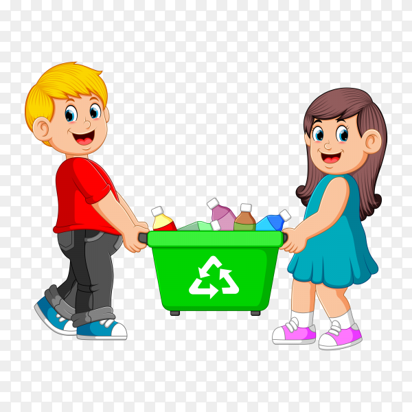 Two Children Carry On Recycle Bin on transparent background PNG