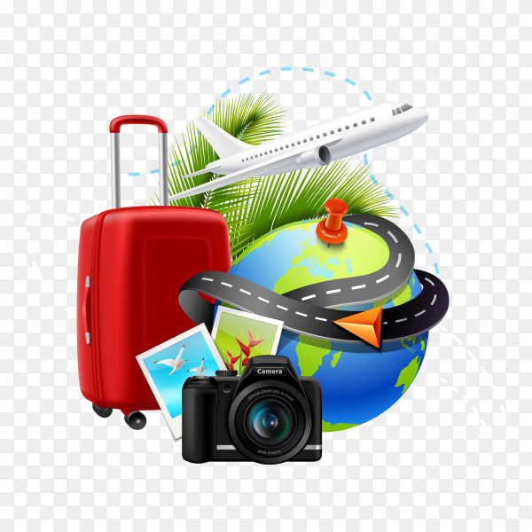 Vacation and holidays background with realistic globe suitcase and photo camera on transparent background PNG