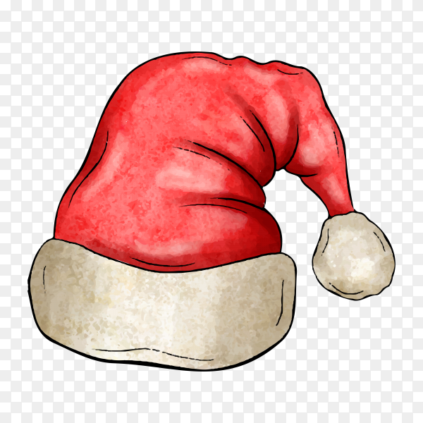 Watercolor Santa Claus hat in red color on transparent background PNG