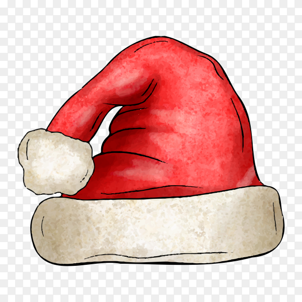 Watercolor Santa Claus hat isolated on transparent background PNG